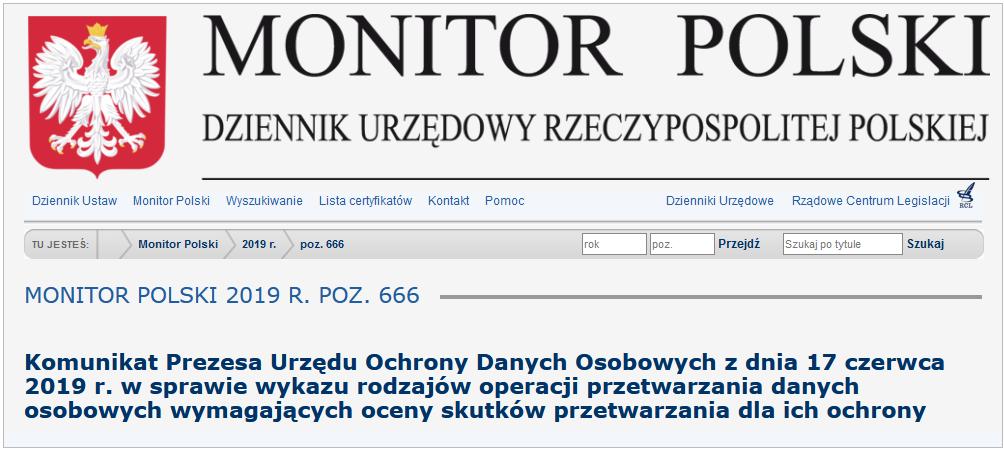 Monitor polski komunikat prezesa UODO